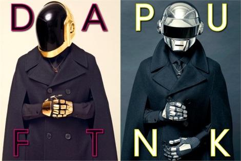 Daft Punk wearing winter coats in L'Uomo Vogue